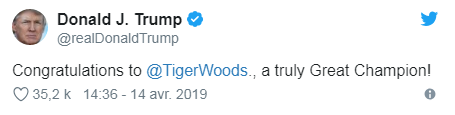 Donald J. Trump on Woods sur Twitter