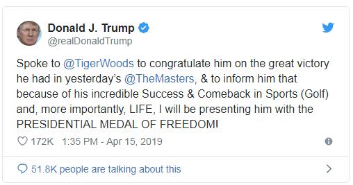 Le président Donald Trump félicite Tiger Woods et veut lui décerner la Médaille Présidentielle de la Liberté