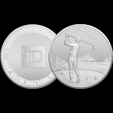 rond d'argent TD Golfeur de 1 oz d'argent.